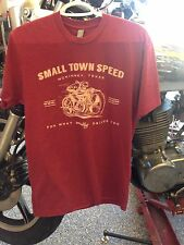 LARGE Cardinal RED heathered SMALL TOWN SPEED vintage flat track style L