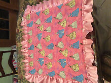 """Baby Blanket 30""""X30""""  Pink Princesses with Yellow Minky Ultrasoft Fabric On Back"""