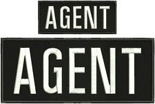 """AGENT  embroidery patches 4 X 10"""" and 2x5 hook on back  white letters"""