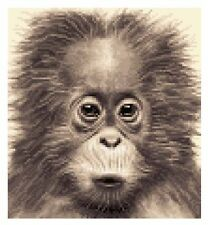 ORANG-UTAN  (APE, MONKEY) complete counted cross stitch kit