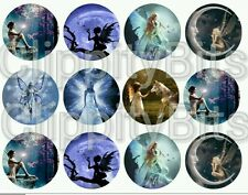 "50 x 1"" Inch Pre Cut Bottle Cap Images Fantasy Mystical Faries Pictures Mixed"