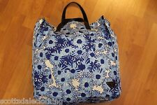 PRADA Blue Floral Nylon Tote Purse Handbag Shopper Shoulder Bag