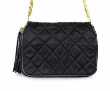 CHANEL Vintage Black Quilted Satin Crystal Gold Chain Flap Evening Bag