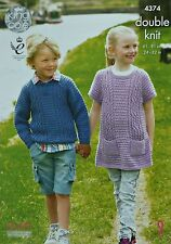 KNITTING PATTERN Girls/Boys Long Sleeve Cable Jumper & Girls Cable Dress DK 4374