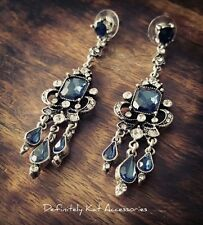 Stunning vintage white & blue crystal chandelier cocktail statement earrings
