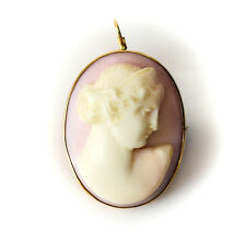14k Gold & Coral Cameo Pendant / Brooch, c1920 Engraved Greek Goddess Hera 8.3g