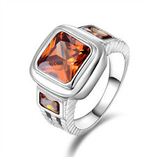 Size 10  Man's Solitaire Fantastic Topaz Emerald Cut 10K Gold Filled Rings Gift