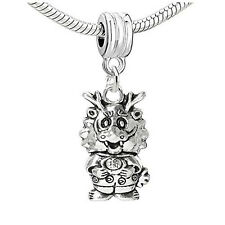 One Sided Chinese Dragon Charm Dangle Bead Compatible with European Snake Chain