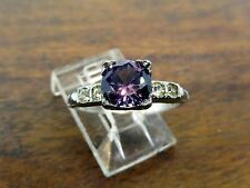 Vintage silver ART DECO ROUND COLOR CHANGE ALEXANDRITE & CZ ENGAGEMENT ring