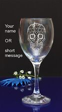 Personalised SUGAR SKULL engraved wine glass for Birthday, Christmas gift 143