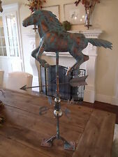 Handcrafted 3- Dimensional Running Horse Weathervane Copper Patina Finish