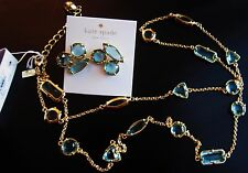 Kate Spade AQUAMARINE BLUE Desert Stone Crystal Station Necklace Earrings SET!