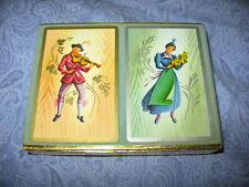 Vintage Double Deck Set Congress Playing Cards w Box Tyrolean Man Woman ~11E15