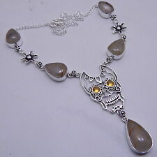 Golden Rutilated Skull 925 Sterling Silver Handmade Jewelry Necklace 25 Gm