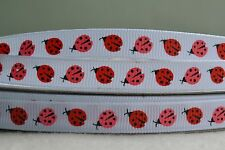 """10mm (3/8"""") WHITE w/ RED & PINK LADYBUGS grosgrain ribbon 3mtrs for crafts"""