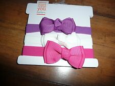 NEW NWT Carters Just One You 3 pack head wraps with bows purple/pink/white