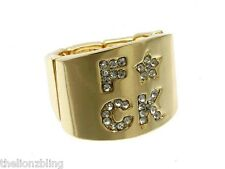 Urban Hip Hop Fashion F*CK Crystal Bling Stretch Ring in Gold