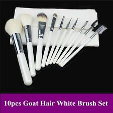 New Pro 10pcs high quality goat hair white color makeup brushes set with pouch