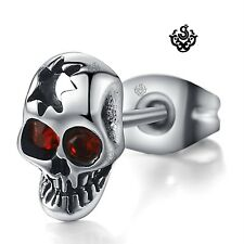 Silver stud made with red swarovski crystal stainless steel skull earring SINGLE