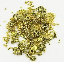 Mix Of Bright Antique Gold Plated Jewellery Making Spacer Beads 13 Styles Sizes