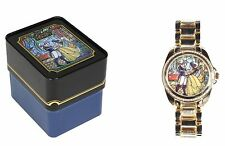 Beauty and the Beast Belle Stained Glass Design Rhinestone Goldtone Watch