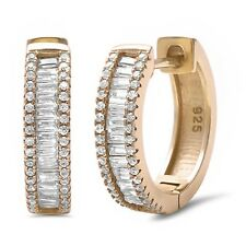 Yellow Gold Plated Baguette Cubic Zirconia Hoop .925 Sterling Silver Earring