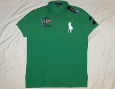 POLO RALPH LAUREN Custom Fit BIG PONY Mesh Shirt, Nautical, Vintage, Green, XL