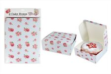 2 pack Floral Pink Rose Cake Boxes Perfect for Cupcakes 26.5cm x 26.5cm x 10cm