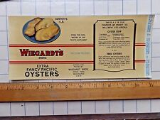 1941 Wiegardt's Extra Fancy Pacific Oysters Can Label  Approx. 4 3/8 x 9 7/8.
