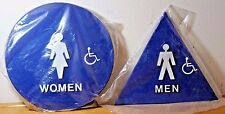 "WOMEN MEN HANDICAP 12"" ROUND & TRIANGLE BLUE BRAILLE DOOR SIGN NEW SET OF 2 LOT"