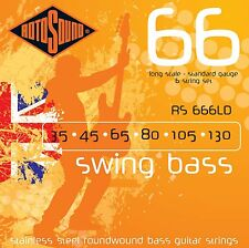 ROTOSOUND 6 STRING RS666LD STAINLESS STEEL ROUNDWOUND BASS GUITAR STRINGS 35-130