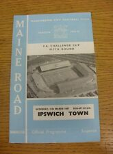 11/03/1967 Manchester City v Ipswich Town [FA Cup] (Light Crease).  We are pleas