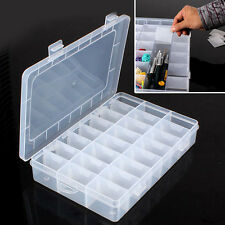 Plastic 24 Slots Adjustable Jewelry Storage Box Case Craft Organizer Beads New