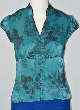 LE CHATEAU Size S Blue V-Neck Button Down Cap Sleeves Blouse (Made in Canada)