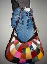 LUCKY BRAND Multicolor Patchwork Leather 1970's Boho Hippy Hobo Handbag Purse