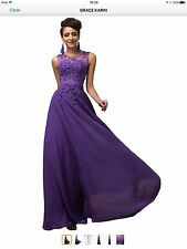 BNWT Purple Maxi Evening Bridesmaid Or Prom V Back Dress With Appliqués