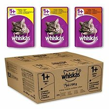 Whiskas Wet Cat Food 1+ Adult Mixed Selection in Gravy Pouch, Pack of 84