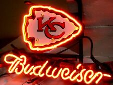 "13""X8"" Kansas City Chiefs Budweiser  Neon Sign Light Night Bud Beer Bar NFL Club"