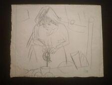 """PASCIN dessin crayon USA 1918 """"Hermine David servant le thé""""/certif authenticité"""