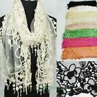 Women's Floral Embroidery Lace Gauze Funky Tassel Soft Long Scarf Wrap Shawl New