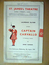 1950 St. James's Threare Programme:Laurence Olivier- CAPTAIN CARVALLO (Comedy)