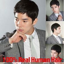 Natural Black Human Hair Wig Men Short Full Wig Hairpieces Straight Toupee Hair