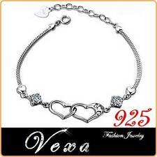 Bracelet Love 925 Sterling Silver Heart Charm Zircons Bangle Ladies Womens BS11