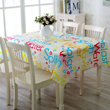 PVC Dinning Table Cloth Cover Clean Oilcloth Tablecloth Colorful Letter Style
