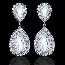 Teardrop Crystal Bridal Silver Long Earrings Women Gemstone Jewelry Wedding