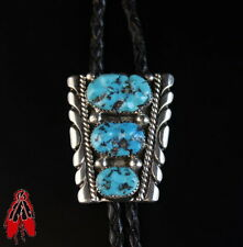 Vintage Navajo sterling silver blue turquoise Bolo Tie 92.5 Native American pawn