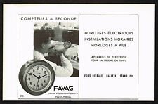 1940's Vintage 1946 Favag Clock Co. - Paper Print AD