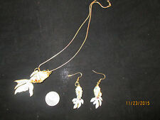 Unique Enameled Koi or Carp Fish Set of Pierced Earrings and Pendant with Chain