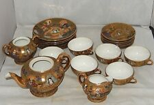 VINTAGE ENTIRE 21 PIECE TAKITO JAPAN TT HANDPAINTED SATSUMA TEA SET GOLD MORIAGE