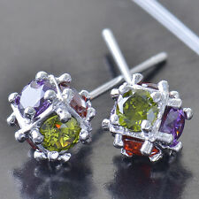Multi crystal Crystals 9K White Gold Filled Ball Stud earing Free Shipping